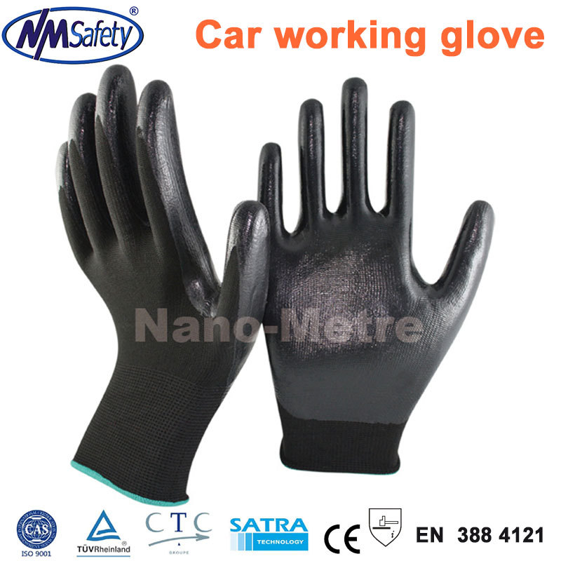NMSafety Black Nylon Working Gloves,Nitrile Labor Protection Oil-resistant Safety Glove