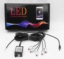 1PC New Sound Active EL Neon Wire Strip Light RGB LED Car Interior Multicolor Bluetooth Phone Control Atmosphere 12V