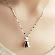 S925 pure silver necklace accessories female lucky small bell pendant sweet fresh 999 pure 24k yellow gold 3d lucky small bell pendant 1 6g