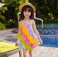 2016 Летняя мода девочка пляж платье радуга платье Бесплатная доставка