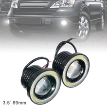 цена на 2pcs 3.5 Inch Car Fog Lamp  89MM 12V 1200LM DRL Car LED Angel Eye Fog Lamp COB Diaphragm Daytime Running Light for Cars Vehicles