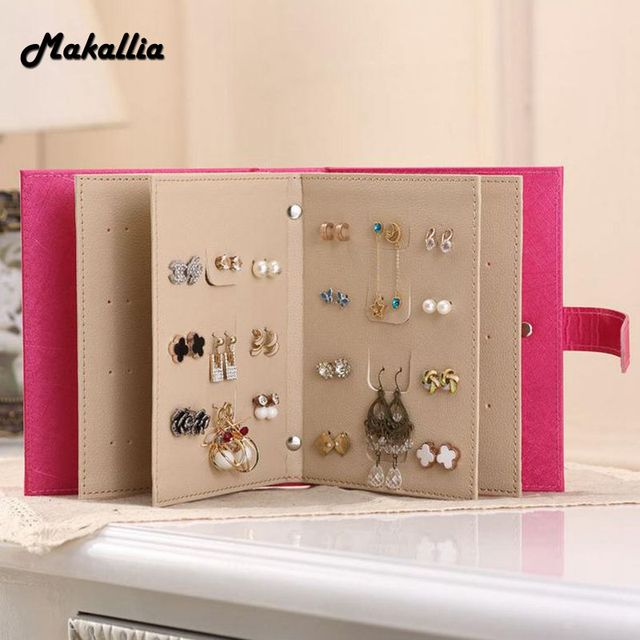 Makallia 2017 New Design Jewelry Boxes And Packaging Pu Leather Stud Earrings Collection Book Creative Jewelry Display Jewellery