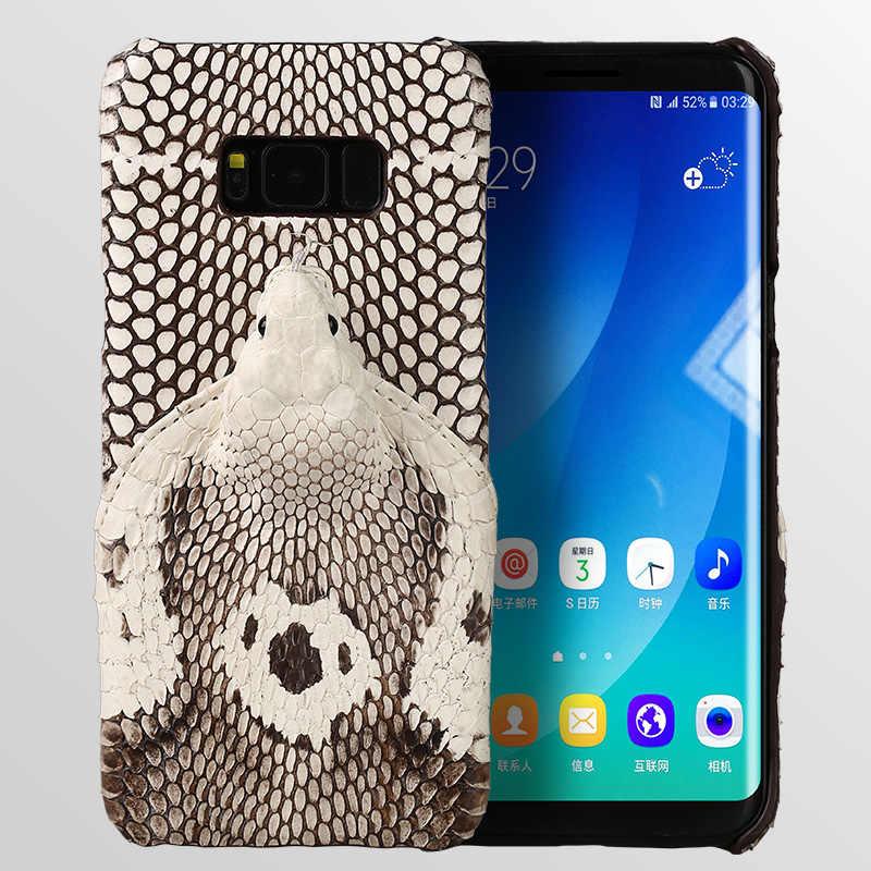 Wangcangli العلامة التجارية جراب هاتف ثعبان حقيقي رئيس الغطاء الخلفي قذيفة الهاتف لسامسونج غالاكسي S8 زائد كامل دليل مخصص تجهيز