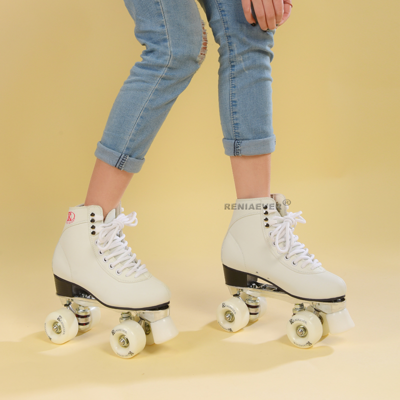Roller Skates Genuine Double Line Skates Adult 4 Wheels Two line White Aluminum Alloy metal chassis Polyurethane wheels