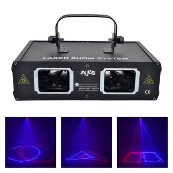 AUCD 2 Lens Red Blue RB Beam Projector Laser Light DMX 512 Professional DJ Party Show Club Holiday Home Bar Stage Lighting 506RB