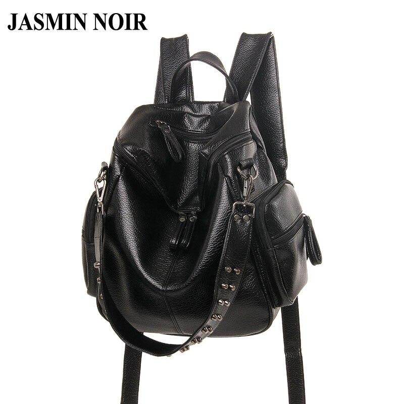Women wash Leather Backpack Female Rivet Travel Bag Over Shoulder for Ladies Brand Designer School Bag