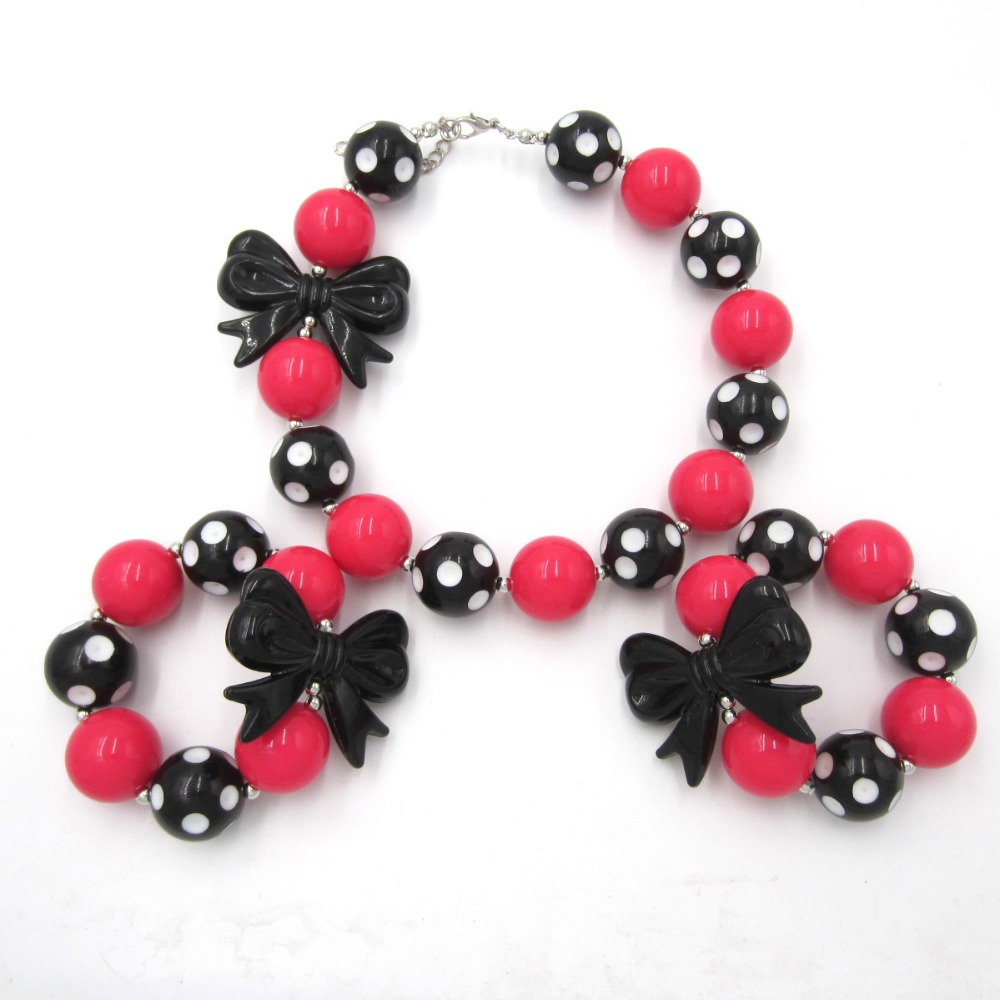 Baby Birthday Gift Handmade Jewelry Girls Lovely Chunky Beads Bubblegum Necklace Bracelet Set Kids Black Bowknot Choker Necklace