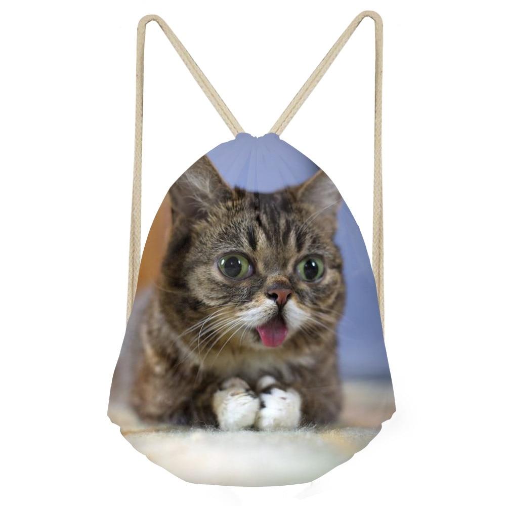 Funny 3D Tummy Cat kitty Print women Drawstring Bags Softback Storage Backpacks for Teenage Girls Casual