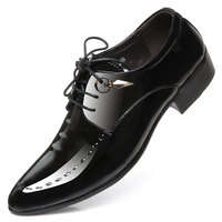 Mens Pointed Toe Business Leather Shoes Lace Up Dress Wedding Leather Shoes England Style Tide Barber