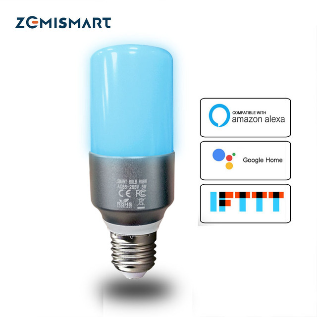 Wifi Bulb RGBW LED Candle Light Work with Alexa Echo Google Home Assistance  IFTTT Voice E27 Timer Control Lamp
