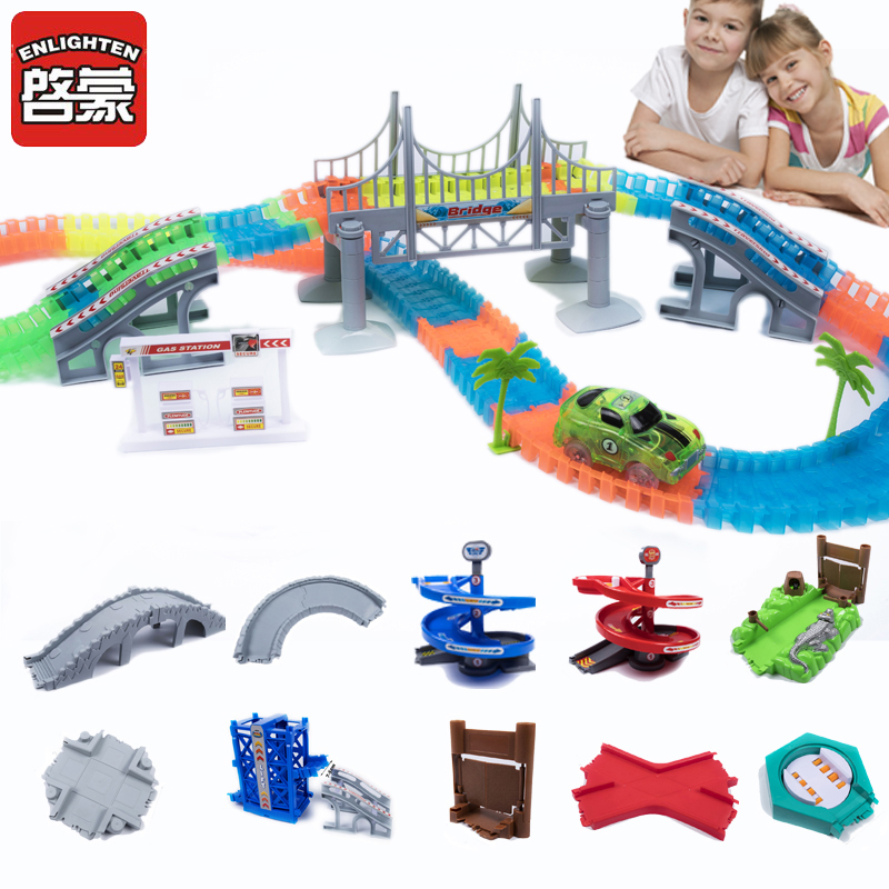 80-800pcs Magical Glowing Race Track Arch Bridge Turntable Bend Flex Flash in the Dark Assembly Car Toy Glow Racing Track Set diy puzzle kid colorful plastic race track led car children assembly toy bend flex glow rails racing roller coaster toys