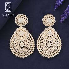 Siscathy Classic Bridal Flower Hollow Dangle Drop Earrings Foe Women Trendy Gold Silver Big Statement Jewelry 2019 New