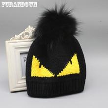 FURANDOWN Womens Winter Hats Fashion Brand Fur Pompom Hat Cap Devil Pattern Knitted Beanies For Ladies