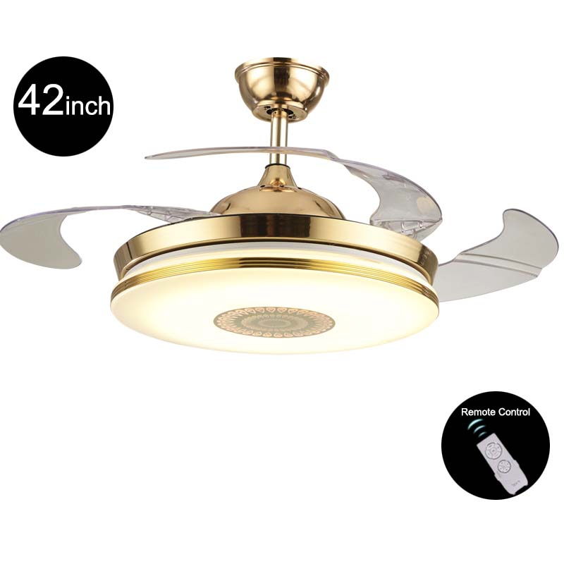 110v/220v 42inch Modern Gold Fan Ceiling Lights Fixtures Acrylic Invisible Ceiling Fan Light Kit with Remote Control Ceiling Fan free shipping ems pendant lights fashion fan lights brief household ceiling fan lights ceiling type with fan lighting