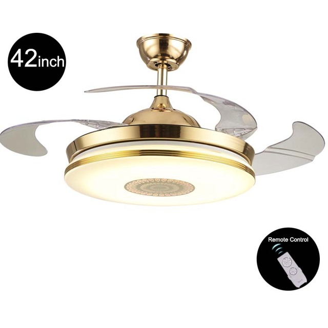 110v 220v 42inch Modern Gold Fan Ceiling Lights Fixtures Acrylic Invisible Light Kit