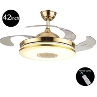 110v/220v 42inch Modern Gold Fan Ceiling Lights Fixtures Acrylic Invisible Ceiling Fan Light Kit with Remote Control Ceiling Fan