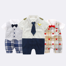 YiErYing Baby clothes ,Summer Cotton Print Short Sleeve Rompers Jumpsuits Newborn girl boys Birthday Party baby costumes