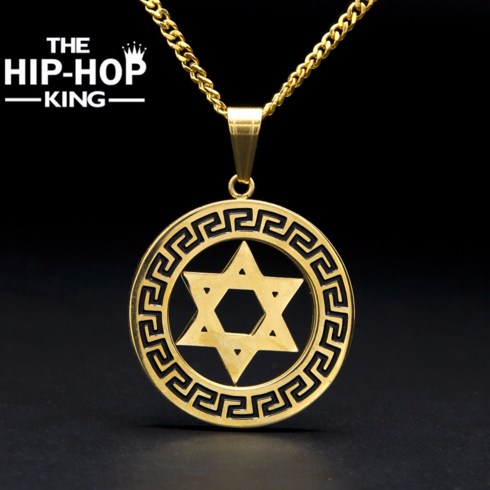 High polished gold star of david pendant necklace for men for Star of david necklace mens jewelry