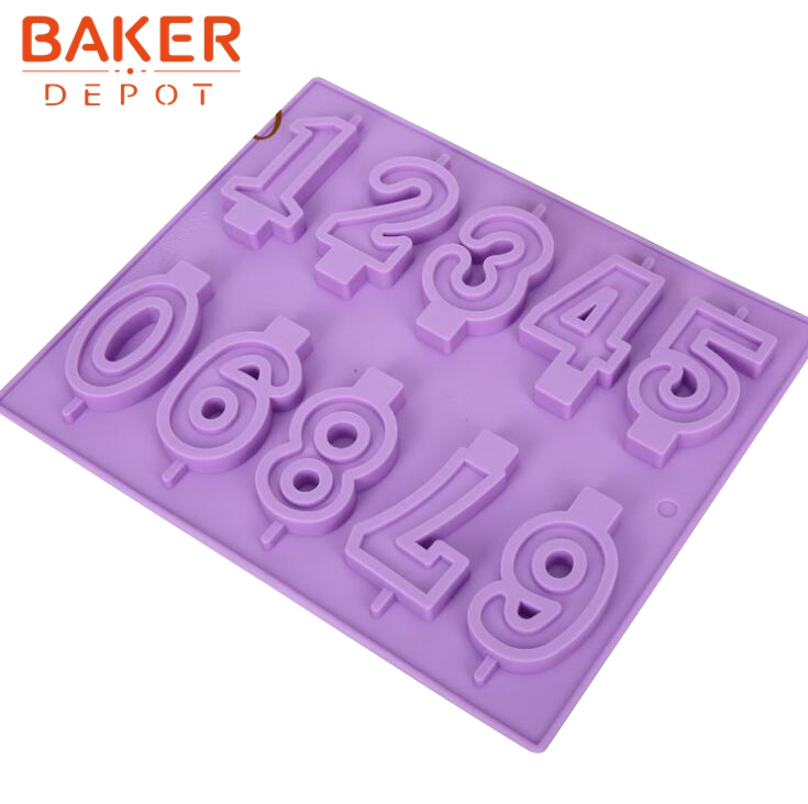 <font><b>BAKER</b></font> <font><b>DEPOT</b></font> Silicone Mold for chocolate lollipop mold numbers design 0 9 candy biscuit pastry baking form cake soap fondant mold image