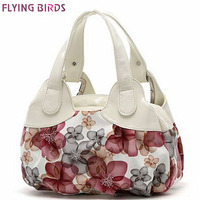 FLYING BIRDS 2013 New Popular Flower Pattern PU Leather Women Handbags Totes For Female SH462