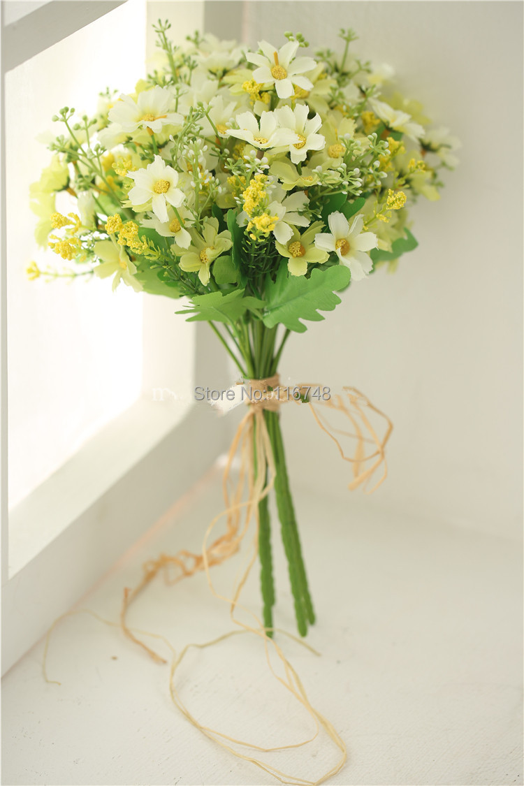 Green Yellow Daisies Wedding Bridal Throw Bouquet Bridal Bouquet
