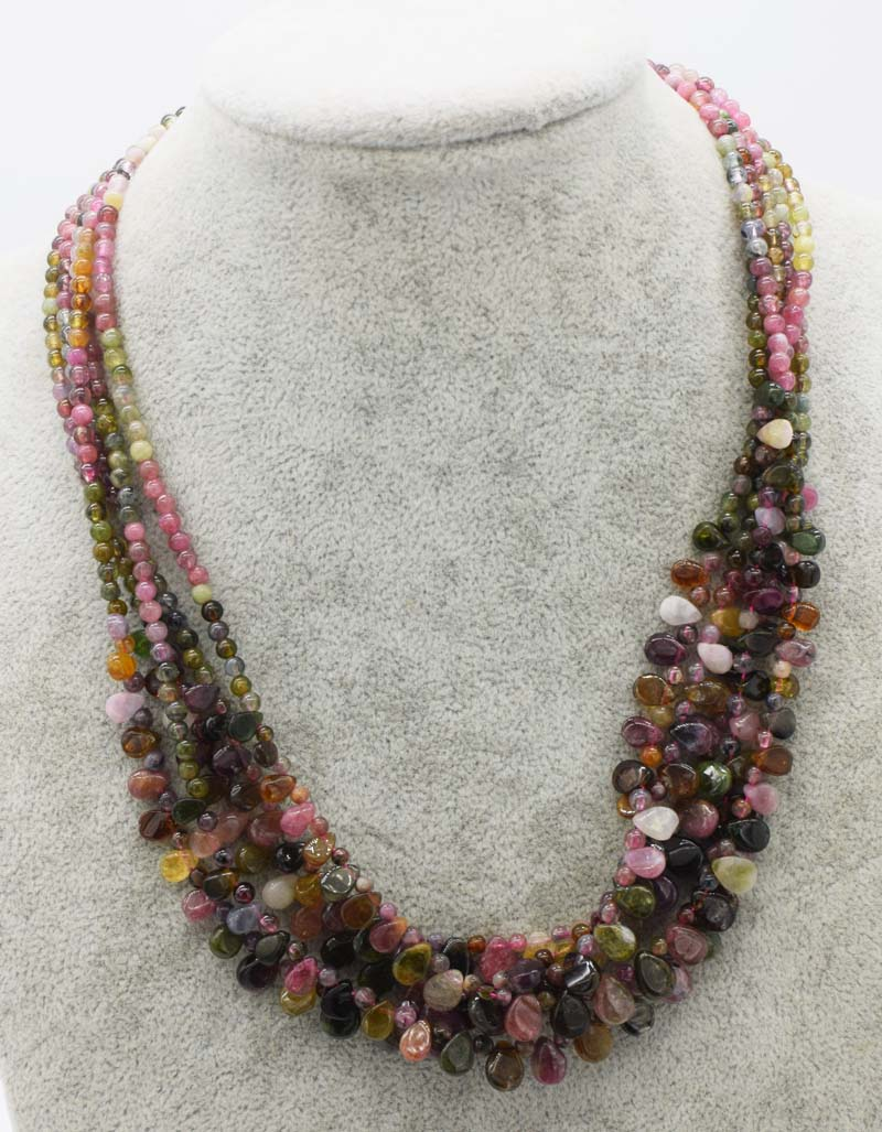 Wholesale Multicolor Tourmaline Round And Drop Necklace 18inch FPPJ Nature Beads For Woman Gift Gemstone