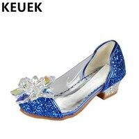 İlkbahar/Sonbahar Kristal Yüksek topuklu Kız Ayakkabı Çocuk Prenses Sequins Cam Parlak Elmas Dans Ayakkabıları Çocuk Deri Ayakkabı 03
