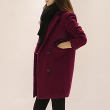 New Fashion Nice Winter Coats Woman Long Sleeve Female Coat Slim Women's Long Wool Winter Coats Double Breasted Outerwear AS111