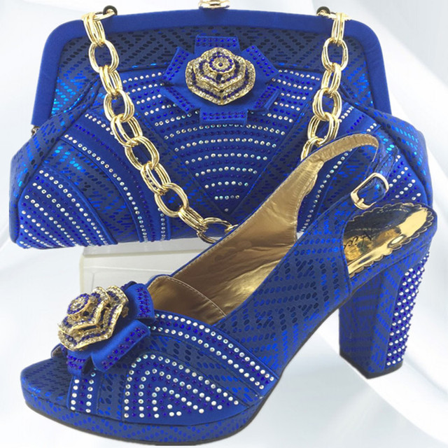 eee6d4ee82bd ME3331 Lovely Blue Color African Rhinestone Shoes Woman And Bag Fashion  Style Wedding Women Pumps Matching Bag Free Shipping