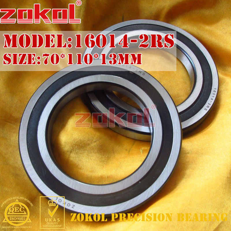 ZOKOL 16014RS bearing 16014 2RS 16014-2RS Deep Groove ball bearing 70*110*13mm zokol 6314 2rs bearing 6314 2rs 180314 deep groove ball bearing 70 150 35mm