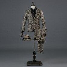 Suits Men 2019 Long Sleeve Stage Mens Performance Prom Leopard Print Suit Slim Fit Designs Clothing Two Piece Set Coat Pants