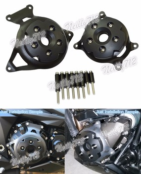 waase Left & Right Engine Stator Clutch Cover Guards Protector Black For Kawasaki Z800 ZR800 2013 2014 2015 2016 2017 2018 2019