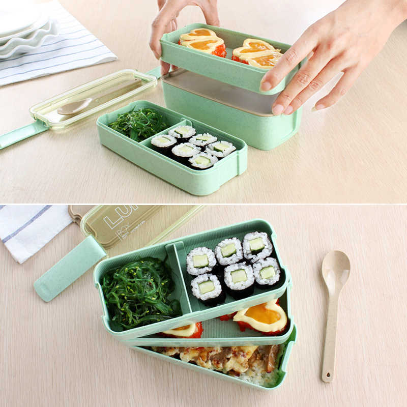 a190cbaf0d54 New Arrive 900ml Japanese Microwave Lunch Box Portable 3 Layer Bento Box  Healthy Food Container Oven Dinnerware set
