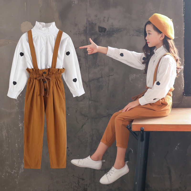 2018 School Kids Outfits Suits Girls Clothing Sets Autumn Teen Clothes For Girls Sets 2018 White Blouses Shirts Tops + Jumpsuits kids stripe outfits for teenage girls long sleeve clothes sets girls school shirts