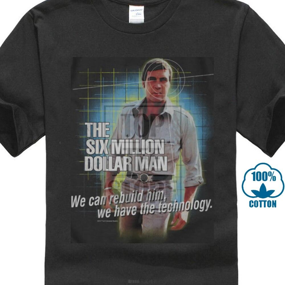 Six Million Dollar Man Men's Technology T Shirt Xxx Large Black Rockabilia White T-shirt Mens Summer