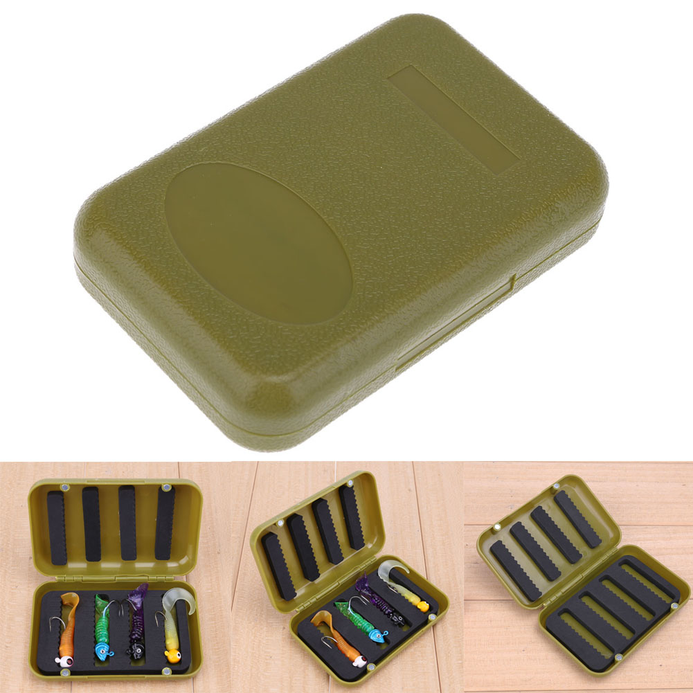 Mini Portable 4 Compartment Fishing Tackle Box Waterproof Engineering Plastic Fishing Lure Hook Storage Case White & Green