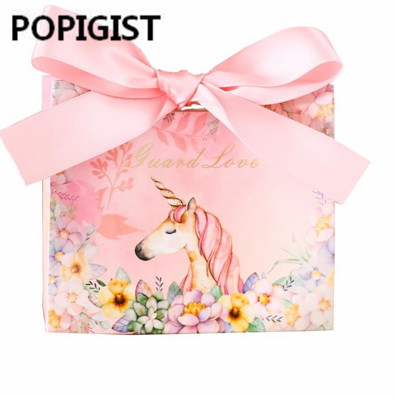 The Unicorn Party Favors Bomboniera Birthday Gift Box Marble Candy Boxes Wedding Gift Package 50pcs