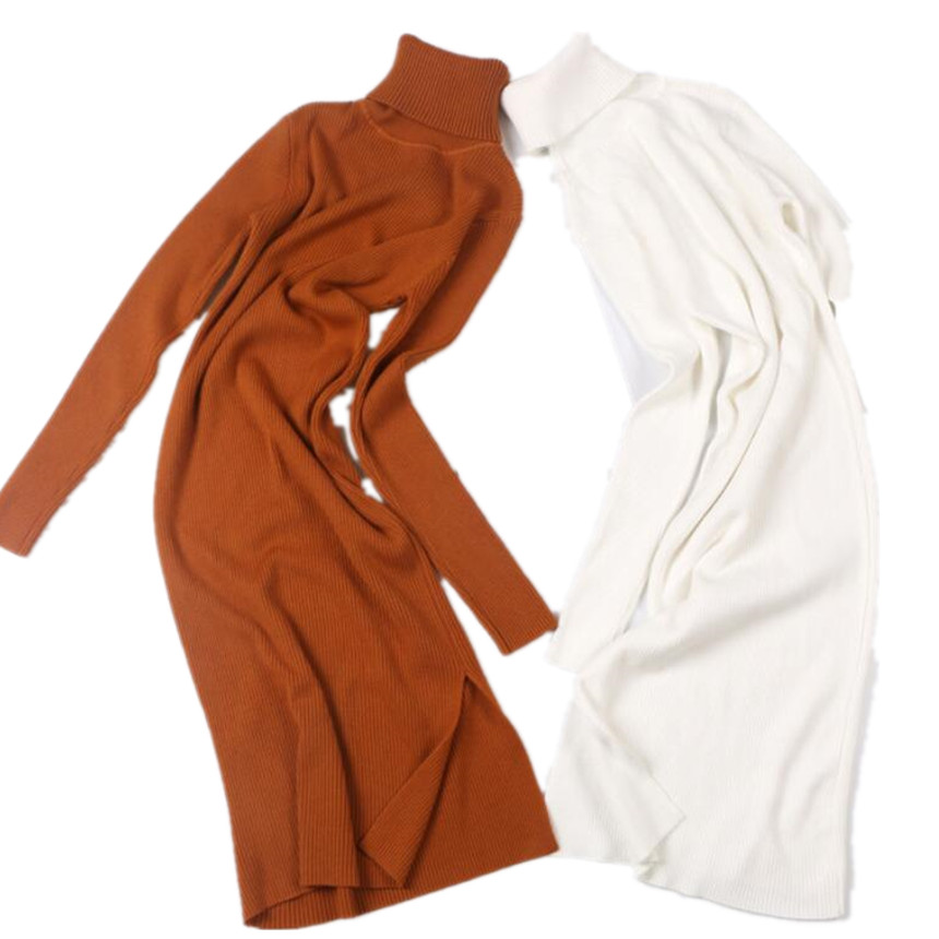 Long Sleeve Women Pullover And Sweaters Autumn Winter Warm Knitwear Turtleneck Sweater Tops Split Up
