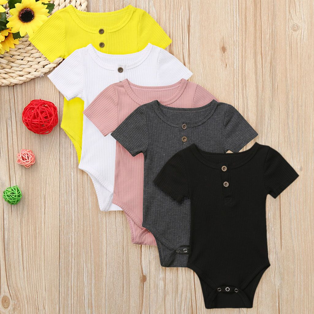 Newborn Baby Boy Girl Clothes toddler Solid Short Sleeve   Romper   Outfits   rompers   baby summer ribbed baby clothes roupa menina