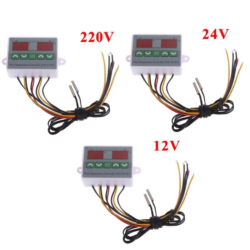 220V 12V 24V Digital Dual Temperature Controller Thermostat Incubator Dual Probe %328&313 220v 12v 24v digital led temperature controller thermostat switch probe sens y103 page 10