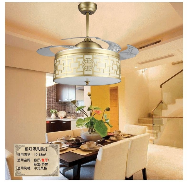 42inch Copper Shade Ceiling Fan Lights LED Chinese Style Living Room Study Bedroom Fashion Light