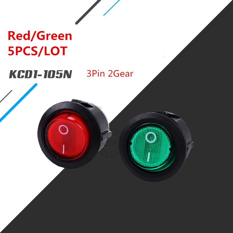 5PCS SC055 Red/Black LED Button Switch 3 Pin On/Off  Rocker KCD1-105N VDE Copper pin silvertipped 6A 250V Sell at a Loss