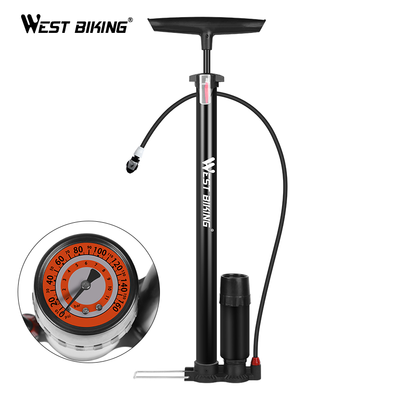 Portable Cycling Bicycle Bike Tire Floor Pump With Pressure Gauge 160 PSI Sports