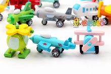 free shipping high-quality cut e wooden Toy Vehicles minicar car wooden plane toy set 12pcs/lot