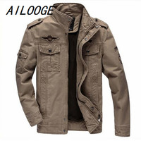 AILOOGE 2017 New Jacket Brand Jacking man winter jackets Men coats Army Military High quality Stand collar Jacket M 6XL