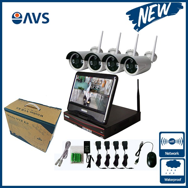 Security 720P P2P Wireless HD Outdoor IP Camera System NVR Kit Support 1TB/4TB HDD with 10.1 inch Screen