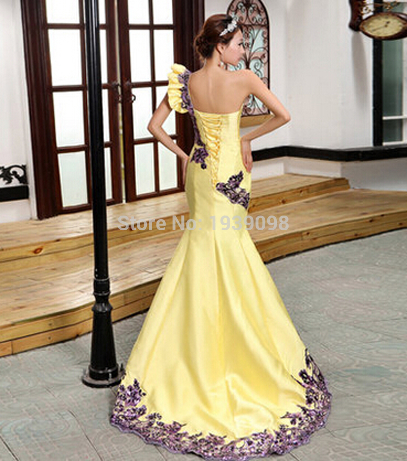 Free shipping New Arrival Long Yellow Evening Dresses For Women 2015 ...