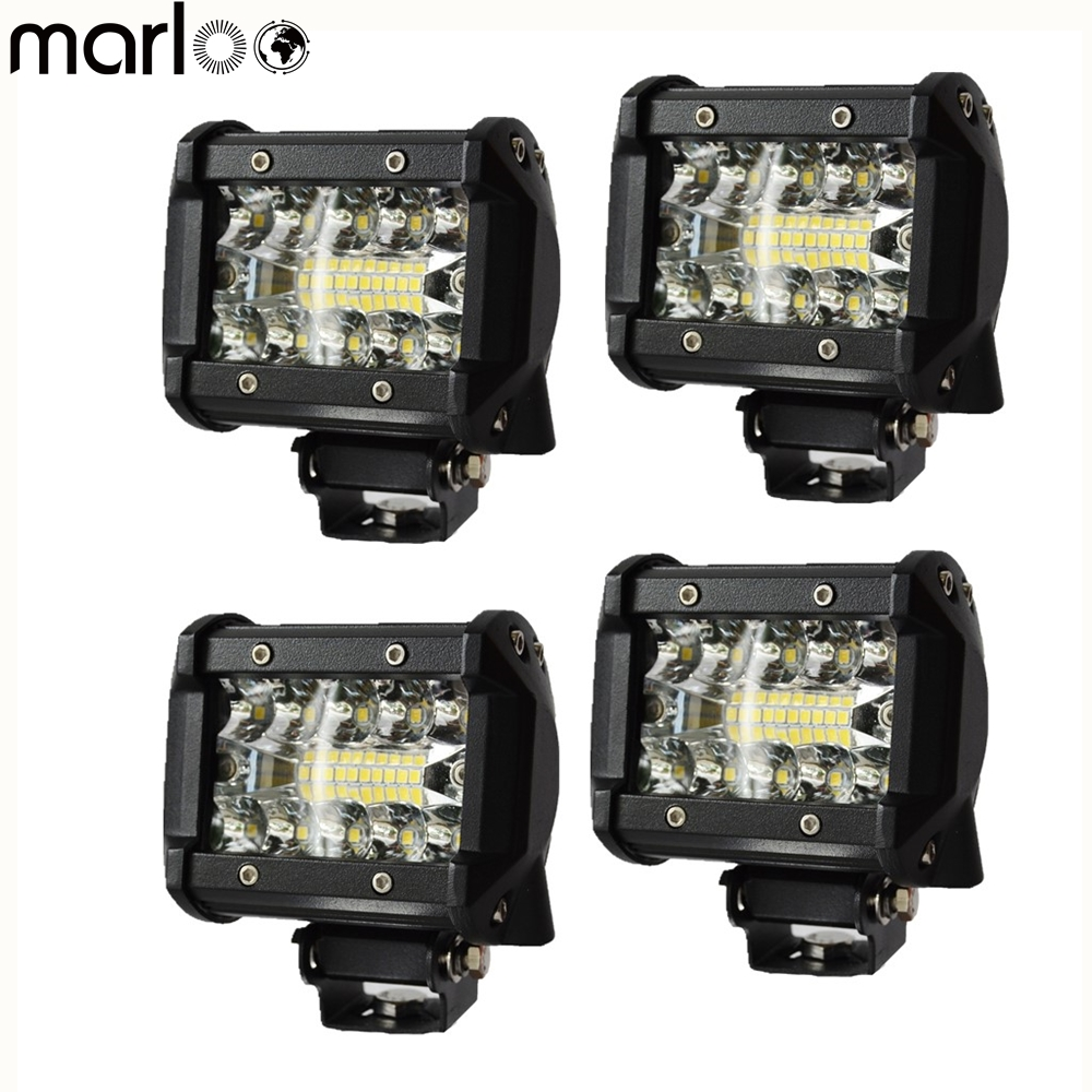 Marloo 4 Inch LED Cube Pods Light 60W Triple Row LED Light Ba Off Road Lighting For Car Motorcycle Jeep Ford Truck ATV Boat SUV