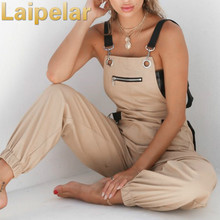 Laipelar Khaki Rompers Womens Jumpsuit Long Elegant Zipper Pockets Sleevlesee Adjusted Strap High Waist Cotton Fashion Summer