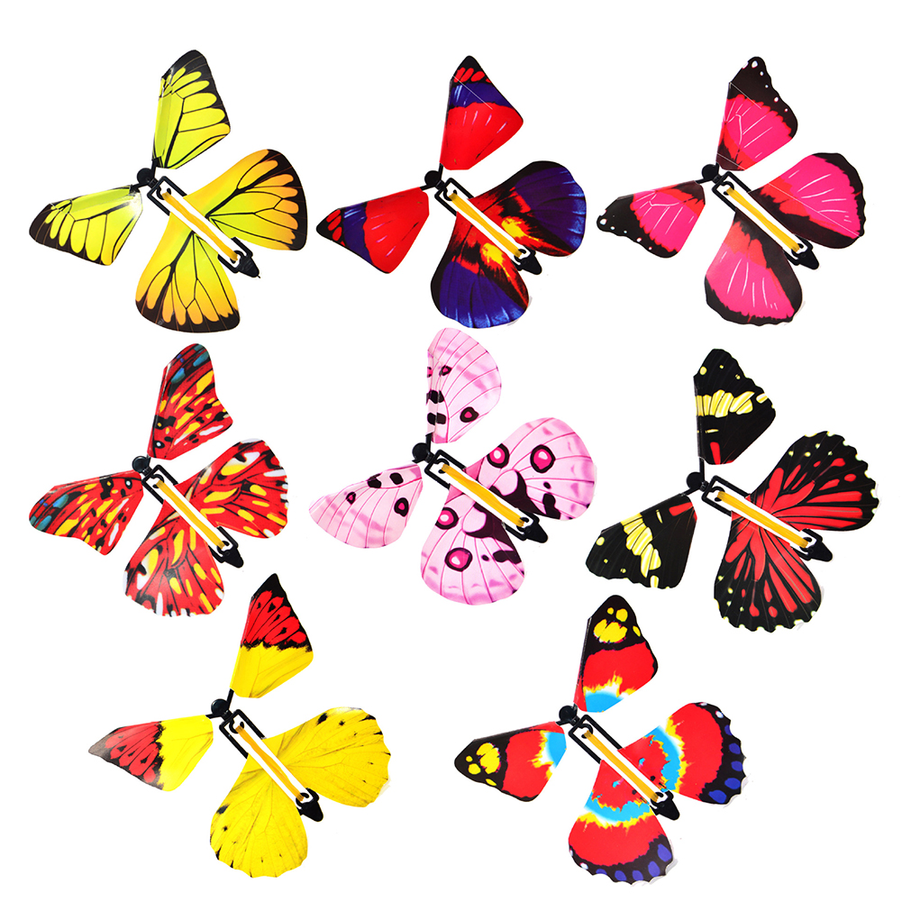 4Pcs Magic Fairy Flying In The Book Butterfly Rubber Band Powered Wind Up Butterfly Toy Great Surprise Birthday Gift (random)